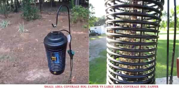 Small area coverage bug zapper VS Large area coverage bug zapper